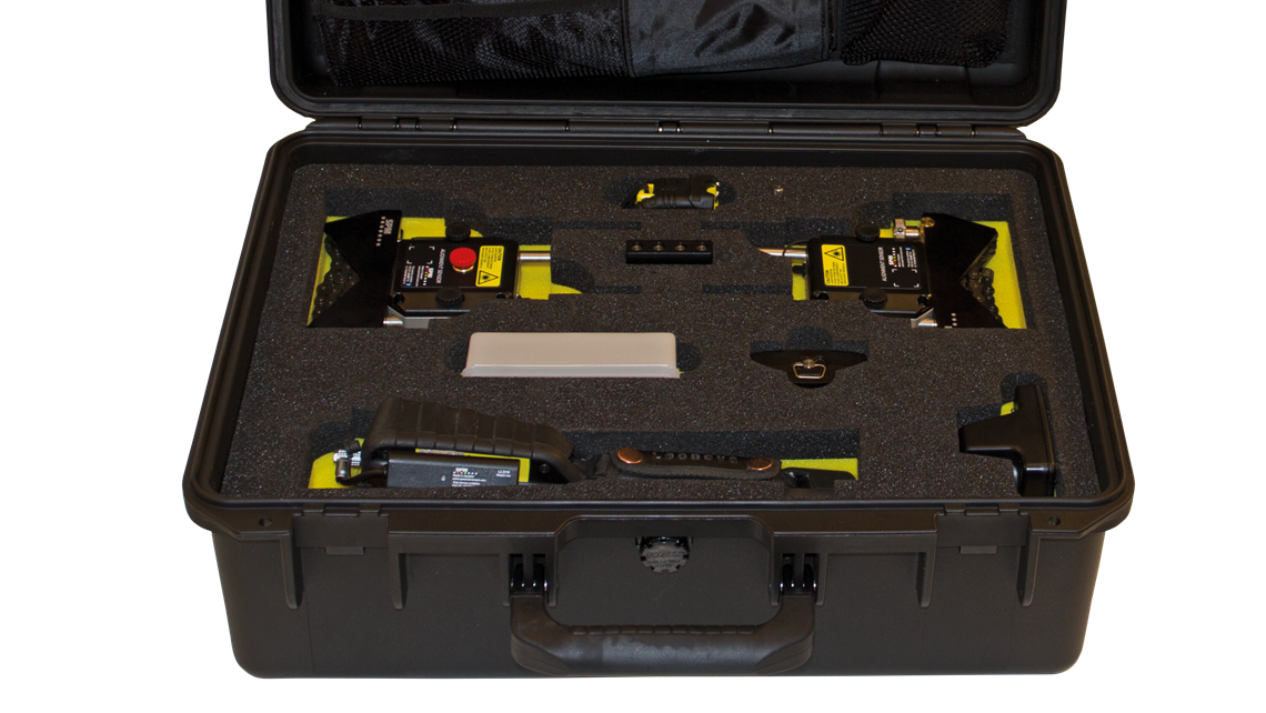 Carrying case with all the accessories included in the LineLazer alignment kit